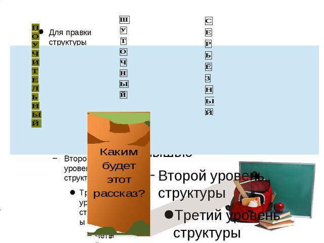 Для правки структуры щелкните мышью Второй уровень структуры Третий уровень...