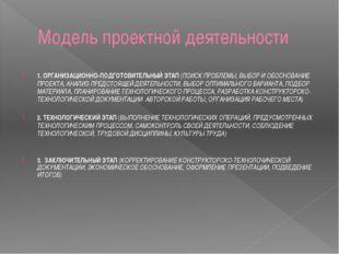 Модель проектной деятельности 1. ОРГАНИЗАЦИОННО-ПОДГОТОВИТЕЛЬНЫЙ ЭТАП (ПОИСК