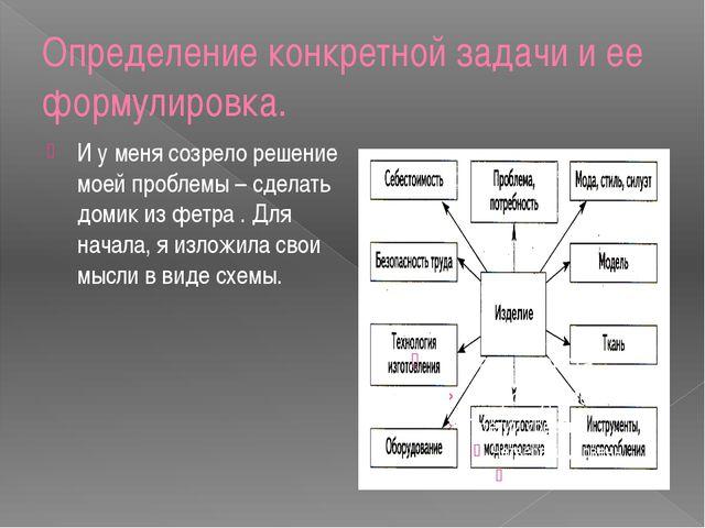 Определение конкретной задачи и ее формулировка. И у меня созрело решение мое...