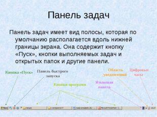 Панель задач Панель задач имеет вид полосы, которая по умолчанию располагаетс