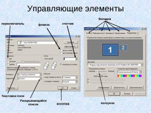 Управляющие элементы кнопка Раскрывающийся список Текстовое поле переключател