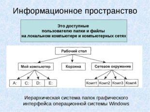 Информационное пространство Это доступные пользователю папки и файлы на локал