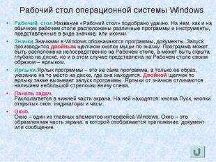 Рабочий стол операционной системы Windows Рабочий стол. Название «Рабочий сто