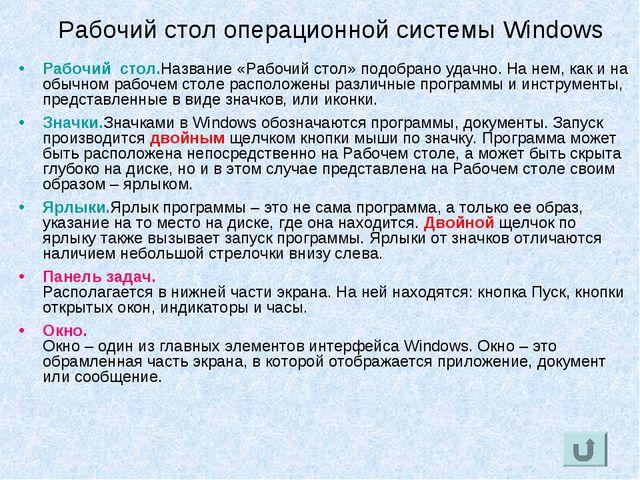 Рабочий стол операционной системы Windows Рабочий стол. Название «Рабочий сто...