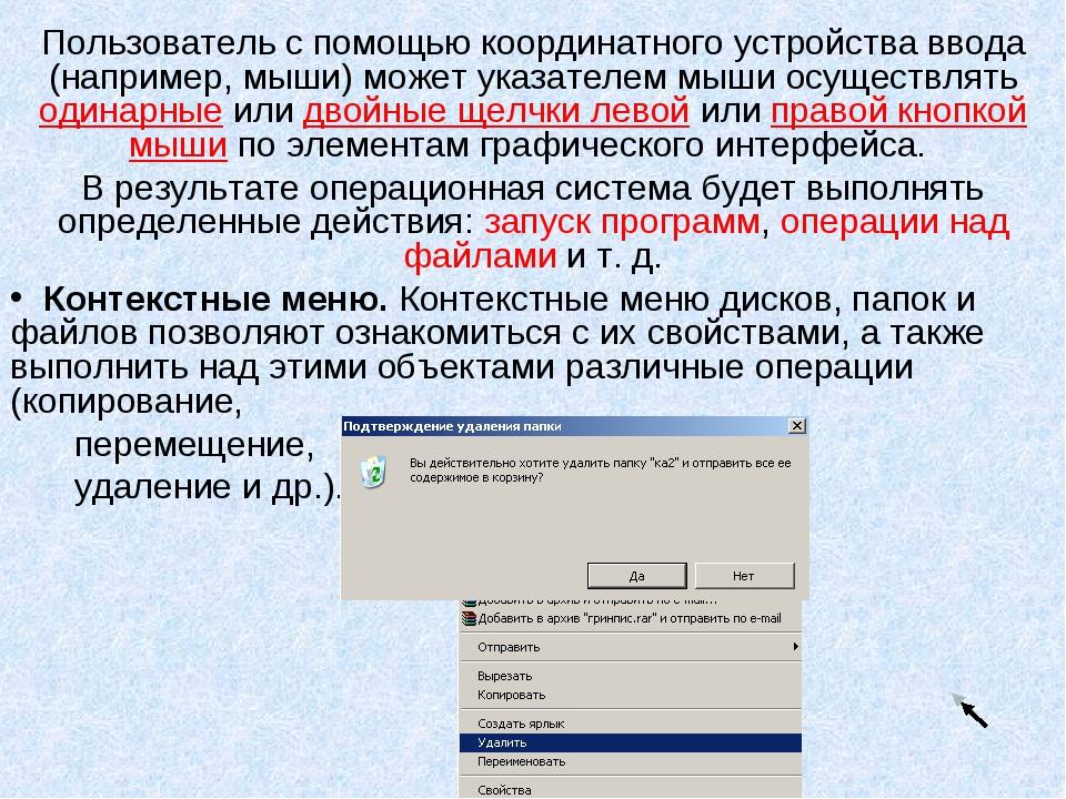 Пользователь с помощью координатного устройства ввода (например, мыши) может...