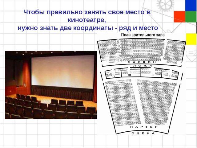 Чтобы правильно занять свое место в кинотеатре, нужно знать две координаты -...