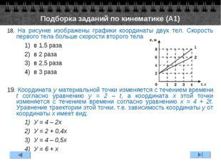 18. На рисунке изображены графики координаты двух тел. Скорость первого тела
