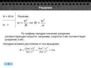 Решение m = 40 кг Решение.  R - ? По графику находим значение ускорения
