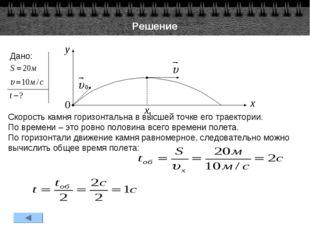 Решение Дано: Скорость камня горизонтальна в высшей точке его траектории. По