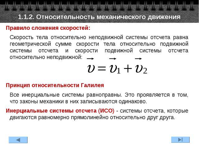 1.1.2. Относительность механического движения Правило сложения скоростей: Ск...
