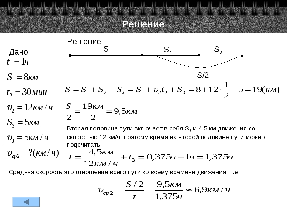 Решение Дано: Решение S1 S2 S3 S/2 Вторая половина пути включает в себя S3 и...
