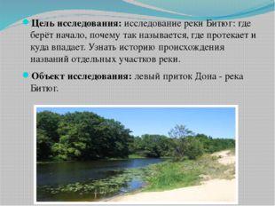 Цель исследования: исследование реки Битюг: где берёт начало, почему так назы