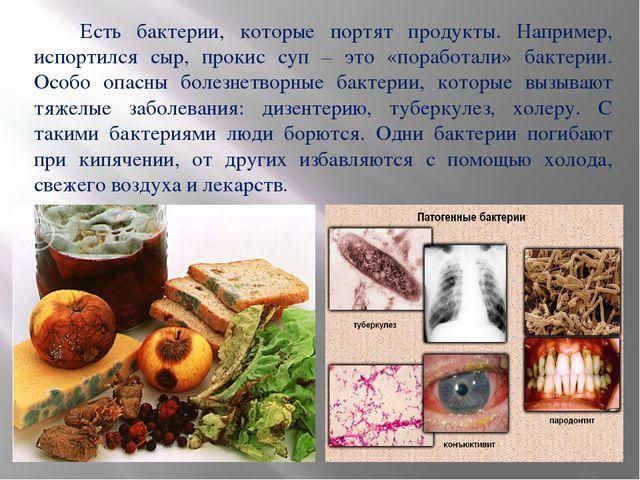 Есть бактерии, которые портят продукты. Например, испортился сыр, прокис суп...
