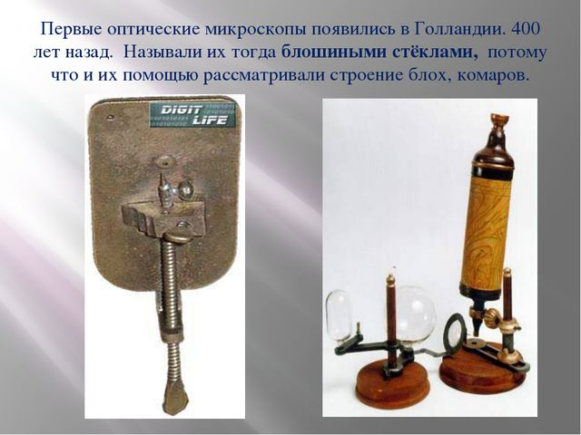 Первые оптические микроскопы появились в Голландии. 400 лет назад. Называли и...