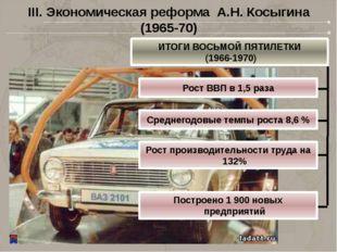 III. Экономическая реформа А.Н. Косыгина (1965-70) ИТОГИ ВОСЬМОЙ ПЯТИЛЕТКИ (1