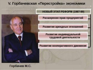 V. Горбачевская «Перестройка» экономики НОВЫЙ ЭТАП РЕФОРМ (1987-89) Расширени