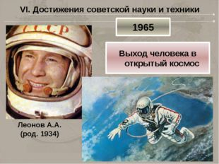 VI. Достижения советской науки и техники Леонов А.А. (род. 1934) 1965 Выход ч