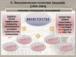 II. Экономическая политика Хрущева (1954-1964) РЕФОРМА УПРАВЛЕНИЯ ЭКОНОМИКОЙ