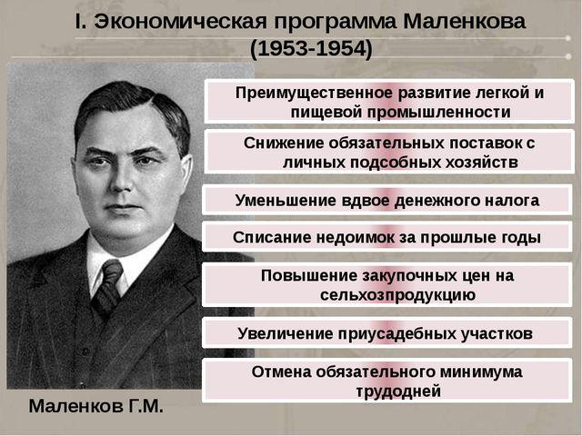 I. Экономическая программа Маленкова (1953-1954) Маленков Г.М. Преимущественн...