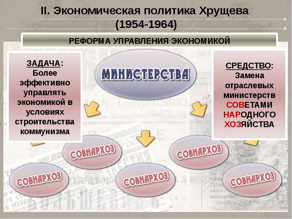 II. Экономическая политика Хрущева (1954-1964) РЕФОРМА УПРАВЛЕНИЯ ЭКОНОМИКОЙ...