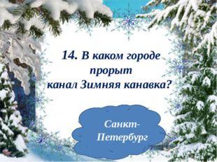 14. В каком городе прорыт каналЗимняяканавка? Санкт-Петербург
