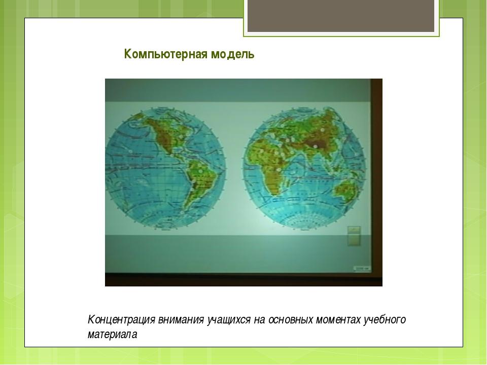 Компьютерная модель Концентрация внимания учащихся на основных моментах учебн...