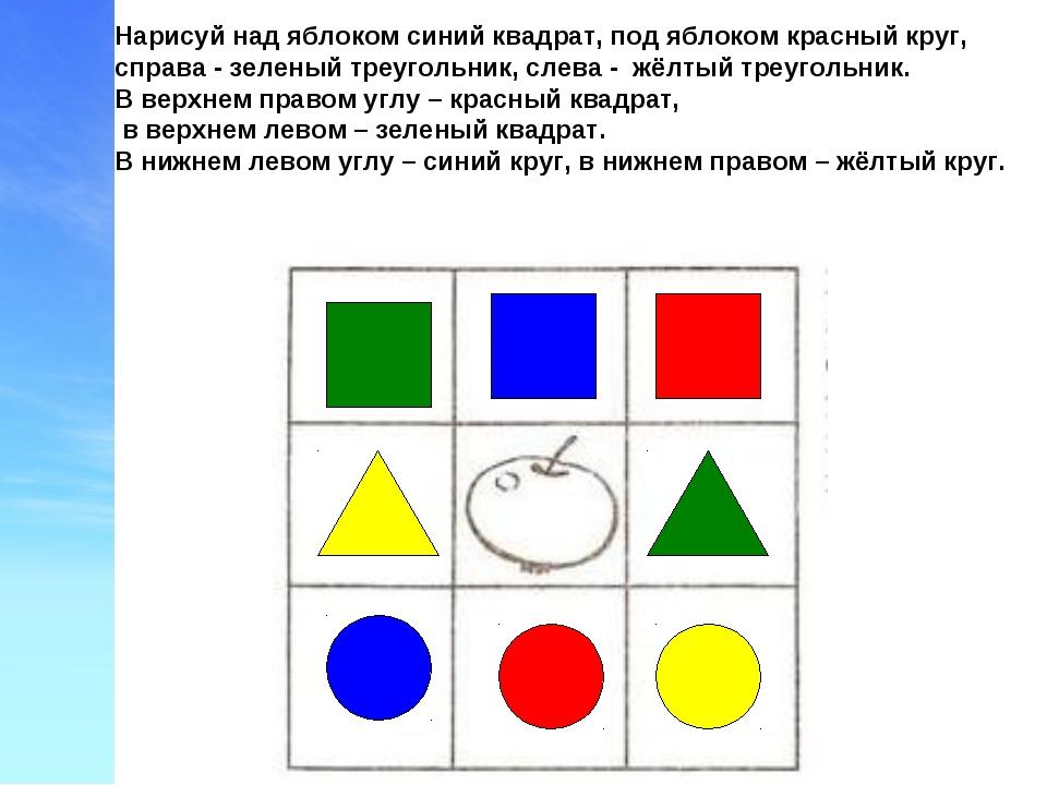 Нарисуй над яблоком синий квадрат, под яблоком красный круг, справа - зеленый...