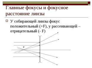 Главные фокусы и фокусное расстояние линзы У собирающей линзы фокус положител
