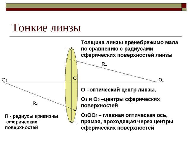 Тонкие линзы О R1 О1 О –оптический центр линзы, О1 и О2 –центры сферических п...