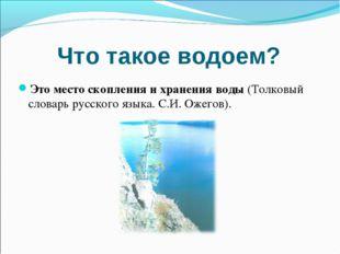Что такое водоем? Это место скопления и хранения воды (Толковый словарь русск