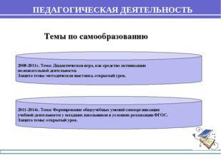 ПЕДАГОГИЧЕСКАЯ ДЕЯТЕЛЬНОСТЬ 2008-2011г. Тема: Дидактическая игра, как средств
