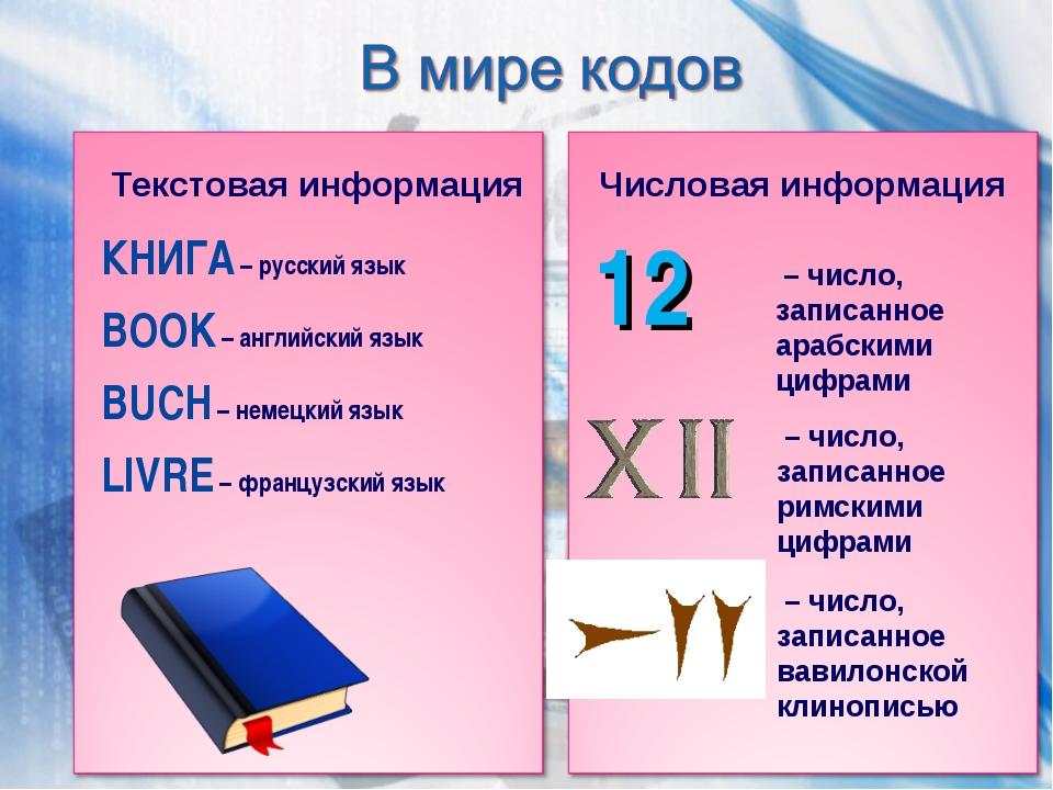 КНИГА – русский язык BOOK – английский язык BUCH – немецкий язык LIVRE – фран...