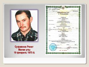 Суфиянов Ренат Малик улы 19 февраль 1973 й.