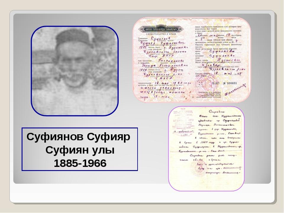 Суфиянов Суфияр Суфиян улы 1885-1966