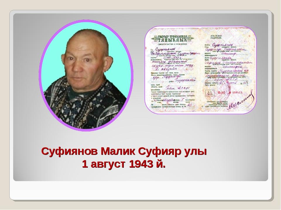 Суфиянов Малик Суфияр улы 1 август 1943 й.