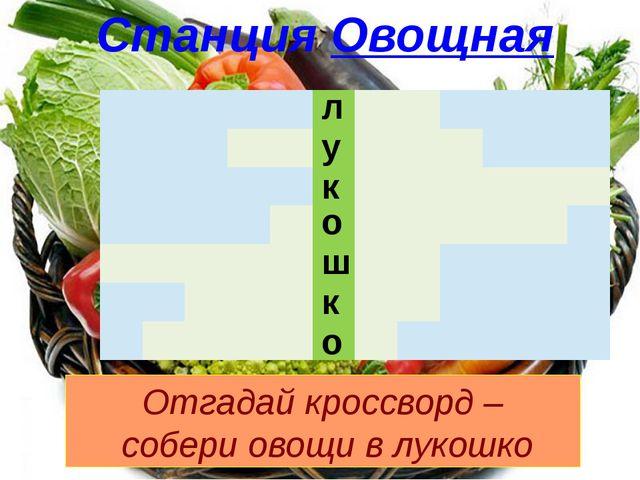 л у к о ш к о Станция Овощная Отгадай кроссворд – собери овощи в лукошко  ...