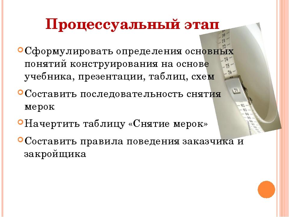 Процессуальный этап Сформулировать определения основных понятий конструирован...