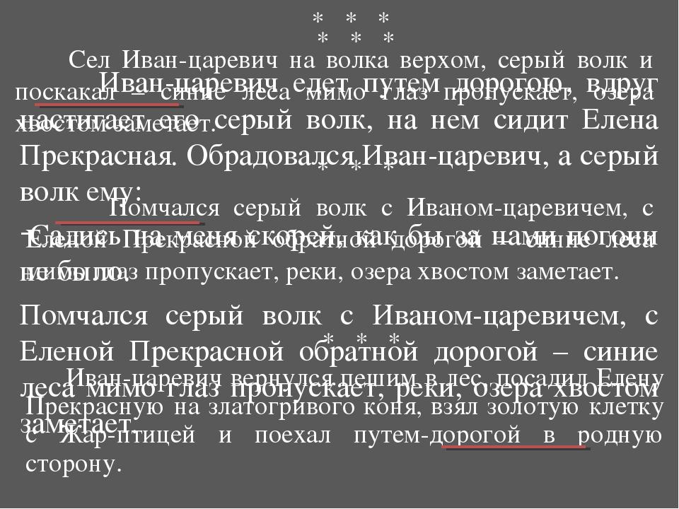 * * * Сел Иван-царевич на волка верхом, серый волк и поскакал – синие леса м...