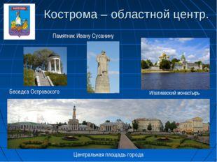 Кострома – областной центр. Памятник Ивану Сусанину Ипатиевский монастырь Цен
