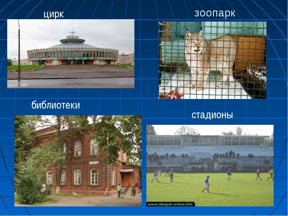 зоопарк цирк библиотеки стадионы