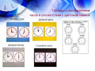 Таблицы с изображением часов в соответствии с цветовой гаммой Доброе утро Доб