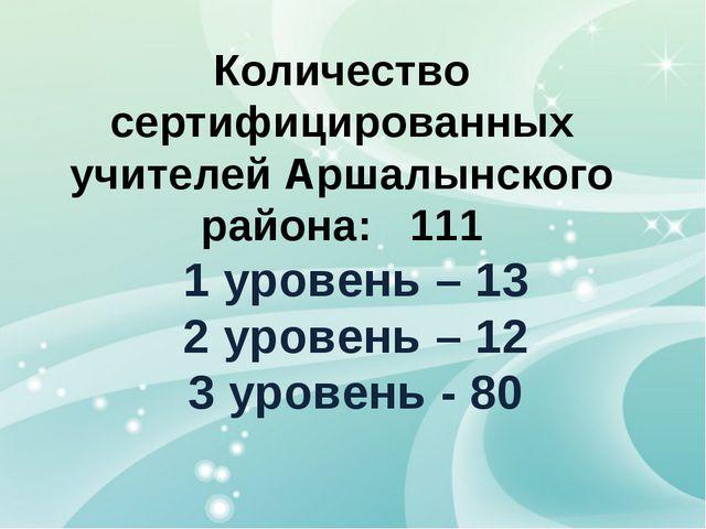 Количество сертифицированных учителей Аршалынского района: 111 1 уровень – 13...