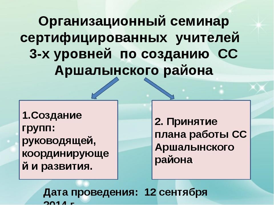 Организационный семинар сертифицированных учителей 3-х уровней по созданию СС...