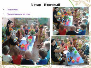 3 этап Итоговый Фотоотчет Папки-ширмы по теме Итоговое занятие «Помоги растен