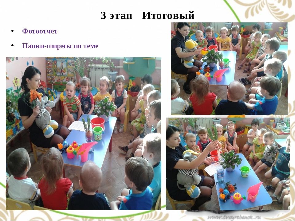 3 этап Итоговый Фотоотчет Папки-ширмы по теме Итоговое занятие «Помоги растен...