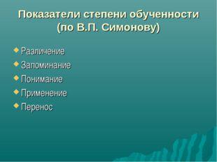 Показатели степени обученности (по В.П. Симонову) Различение Запоминание Пон
