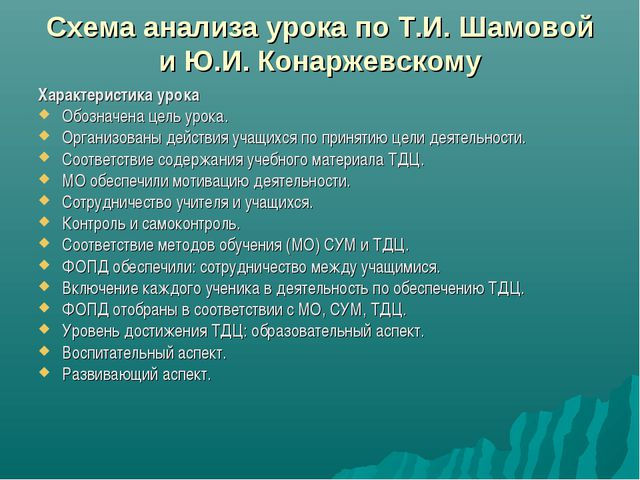Схема анализа урока по Т.И. Шамовой и Ю.И. Конаржевскому Характеристика урока...