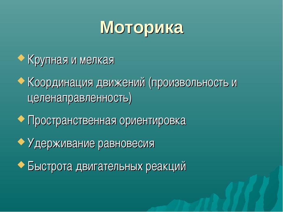 Моторика Крупная и мелкая Координация движений (произвольность и целенаправле...