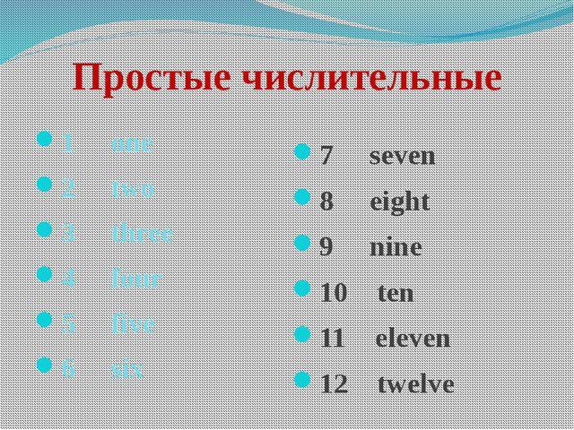 Простые числительные 1 one 2 two 3 three 4 four 5 fiv...