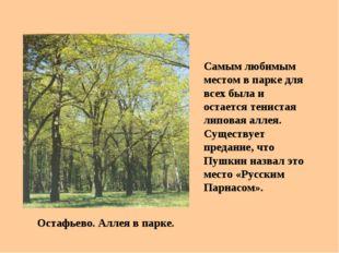 Остафьево. Аллея в парке. Самым любимым местом в парке для всех была и остает